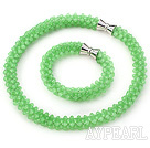 Wholesale Light Green Series Green Jade Tube Shape Woven Set ( Necklace and Matched Bracelet)
