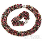 Wide Style Woven Multi Color Round Agate Set ( Necklace and Matched Bracelet )