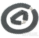 Wholesale Wide Style Black Tungsten Steel Stone Set ( Necklace and Matched Bracelet )