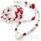 Wholesale White and Red Series Clear Crystal and Red Candy Jade and White Porcelain Stone Set