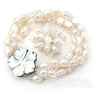 Wholesale 8-9mm White Baroque Freshwater Pearl Set with Shell Flower Clasp ( Strands Bracelet and Ring)