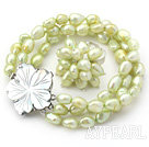 8-9mm Grass Green Baroque Freshwater Pearl Set with Shell Flower Clasp ( Strands Bracelet and Ring)