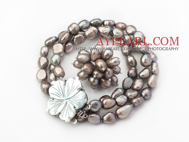 8-9mm Dark Gray Baroque Freshwater Pearl Set with Shell Flower Clasp ( Strands Bracelet and Ring)