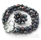 8-9mm Sort barokk Freshwater Pearl Set med Shell Flower Clasp (Strands armbånd og ring)