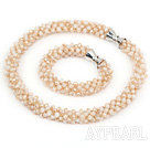 Gray and Baby Pink Series Gray Jade Tube Shape Woven Set ( Necklace and Matched Bracelet)