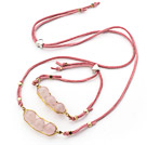 Pink Series Wire Wrapped Rose Quartz Pea Pendant Set with Pink Leather ( Necklace and Matched Bracelet)
