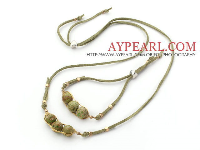 Green Series Wire Wrapped Imperial Jasper Pea Pendant Set with Green Leather ( Necklace and Matched Bracelet)