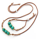 Wholesale Green Series Wire Wrapped Turquoise Pea Pendant Set with Brown Leather ( Necklace and Matched Bracelet)