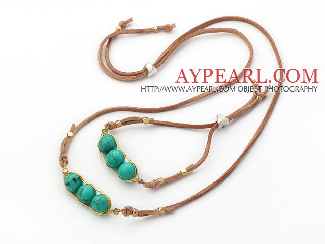 Green Series Wire Wrapped Turquoise Pea Pendant Set with Brown Leather ( Necklace and Matched Bracelet)