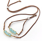 Wholesale Light Blue Series Wire Wrapped Blue Jade Pea Pendant Set with Brown Leather( Necklace and Matched Bracelet )