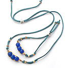 Dark Blue Series Wire Wrapped Dark Blue Agate Pea Pendant Set with Blue Leather( Necklace and Matched Bracelet )