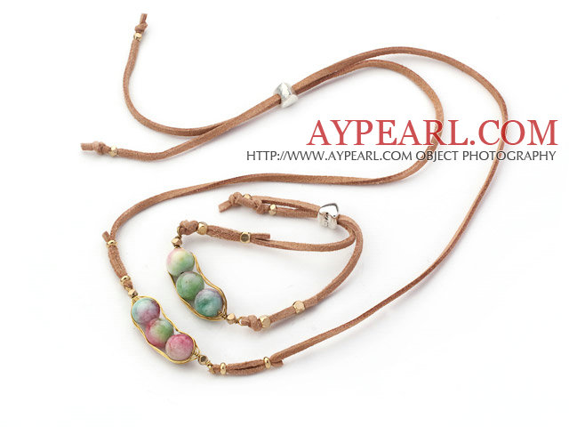 Wire Wrapped Watermelon Jasper Pea Pendant Set with Brown Leather ( Necklace and Matched Bracelet)
