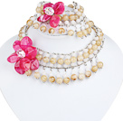 White and Light Yellow Acrylic and Hot Pink Acrylic Flower Set ( Neckalce and Matched Bracelet )
