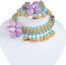 Blue and Yellow Acrylic and Purple Acrylic Flower Set ( Neckalce and Matched Bracelet )