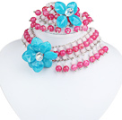 Pink and White Acrylic and Blue Acrylic Flower Set ( Neckalce and Matched Bracelet )