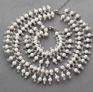 2013 Summer New Design White Freshwater Pearl and Clear Crystal Bridal Set( Necklace and Matched Bracelet)