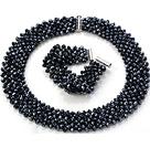 Popular Multi Strands Handmade Black Crystal Sets (Netted Necklace With Matched Bracelet)