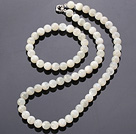 Fashion Natural Round 8Mm White Moonstone Sets (Necklace With Matched Elastic Bracelet)