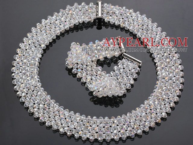 Fashion Multi Strands White AB Color Manmade Crystal Sets (Netted Necklace With Matched Bracelet)