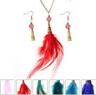 6 Sets New Fashion Style Multi Color Feather Pendant Necklace with Matched Earrings