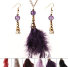 6 Sets New Fashion Style Multi Color Crystal Feather Pendant Necklace with Matched Earrings