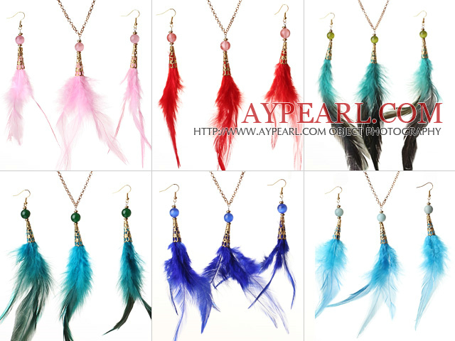 6 Sets Beautiful Multi Color Feather Pendant Necklace with Matched Earrings
