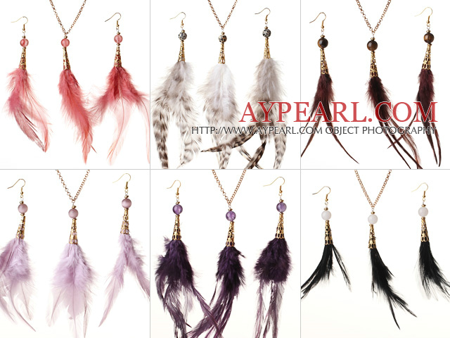 6 Sets Beautiful Multi Color Crystal Feather Pendant Necklace with Matched Earrings