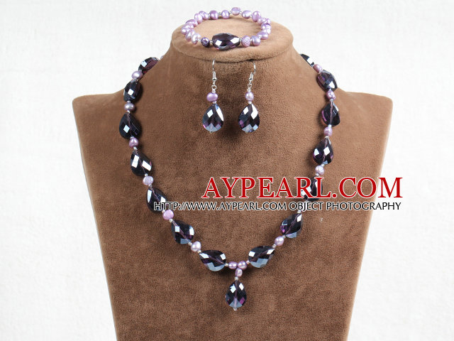 Summer New Design Multi Strands Amazon Stone And Crystal Beads Nekclace with Matched Bracelet Earrings