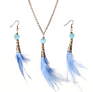New Fashion Style Blue Feather Pendant Necklace with Matched Earrings