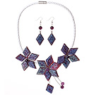 Gorgeous Purple Flower Shape Acrylic Party Necklace with Matched Earrings