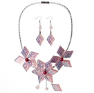 Gorgeous Pink Flower Shape Acrylic Party Necklace with Matched Earrings