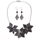 Gorgeous Black Flower Shape Acrylic Party Necklace with Matched Earrings