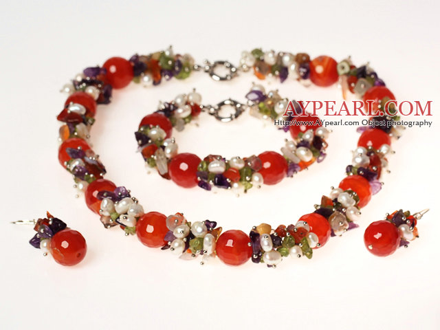 White Pearl and Amethyst and Carnelian Jewelry Sets ( Necklace Bracelet and Matched Earrings )