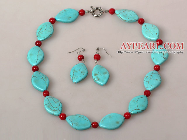 Horse Eye Shape Turquoise and Coral Jewelry Sets ( Necklace and Matched Earrings )