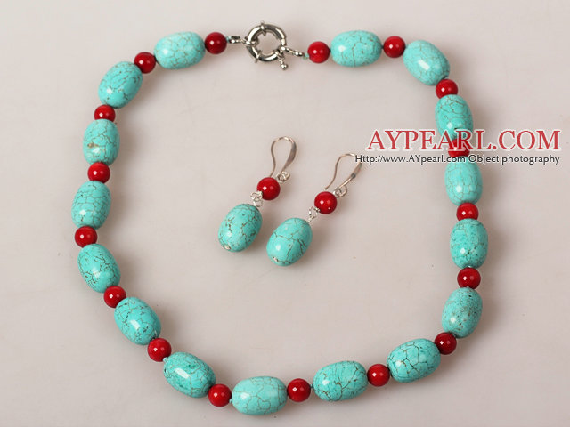 Drum Shape Turquoise and Coral Jewelry Sets ( Necklace and Matched Earrings )