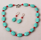 Oval Shape Turquoise and Coral Jewelry Sets ( Necklace and Matched Earrings )