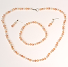 Classic Design White and Pink and Purple Pearl Beaded Jewelry Sets ( Necklace Bracelet and Studs)