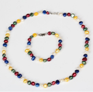 6-7mm Multi Color Süßwasser-Zuchtperlen-Set (Halskette und Armband Matched)