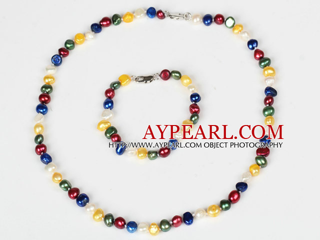 6-7mm Multi Color Freshwater Pearl Set ( Necklace and Matched Bracelet )