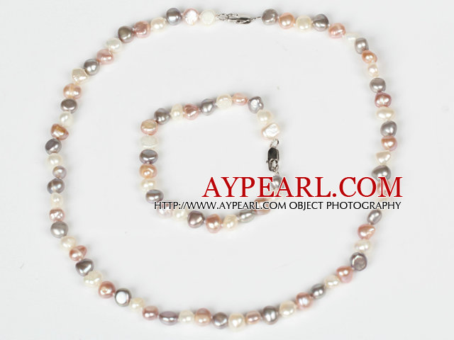 6-7mm White and Pink and Gray Freshwater Pearl Set ( Necklace and Matched Bracelet )