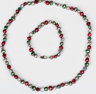 6-7mm Green and Wine Red and Gray Color Freshwater Pearl Set ( Necklace and Matched Bracelet )