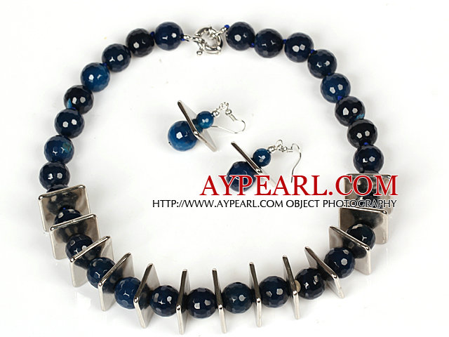 14mm Round Dark Blue Agate Beads Set ( Necklace and Matched Earrings )
