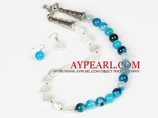 Water Drop Pearl and Stripe Blue Agate Necklace and Matched Earrings Set