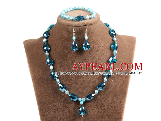 Blue Agate and White Porcelain Stone Necklace and Matched Earrings Set