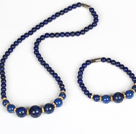Round Lapis Jewelry Set ( Graduated Necklace and Matched Bracelet )