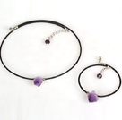 Wholesale Simple Style Amethyst Stone Set ( Necklace and Matched Bracelet )
