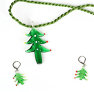 Cute Christmas Tree Jewelry Set Necklace with Matched Earrings