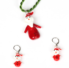 Christmas Santa Clau Jewelry Set Necklace with Matched Earrings