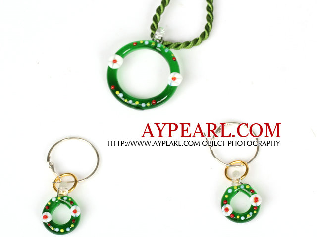 Christmas Ring Jewelry Set Necklace with Matched Earrings