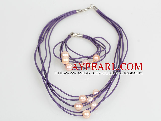 10-11mm Pink Freshwater Pearl and Purple Leather Necklace Bracelet Set